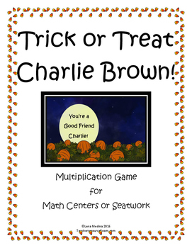 """""""Charlie Brown Halloween"""" Themed Multiplication Game"""