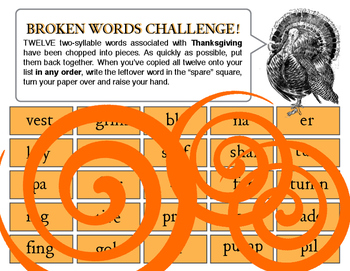 Broken words! A Thanksgiving word puzzle
