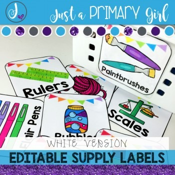 ~*Classroom Labels  - WHITE & {Editable}