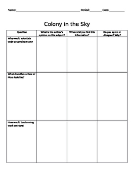"""'Colony in the Sky"""" Read-Along Chart"""