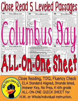"""Columbus Day"" Close Read 5 Level Passages ALL-ON-ONE SHEE"