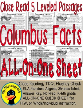 """Columbus Facts"" Close Read 5 Level Passages ALL-ON-ONE SH"