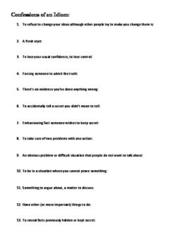 'Confessions of an Idiom' - Quiz