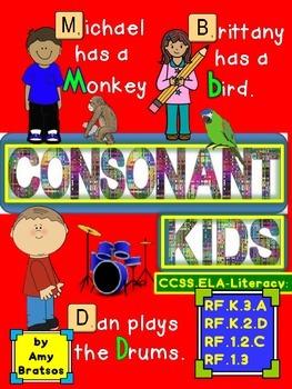 """Consonant Kids"" CCSS Aligned Beginning Consonant Differen"