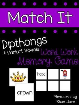 {Dipthongs Match It} Word Work [Reading] Station Literacy