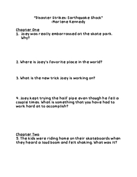 """Disaster Strikes: Earthquake Shock"" Comprehension Questions"