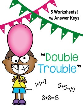 """""""Double Trouble"""" / Doubles Worksheet/ Math Center / Addition"""