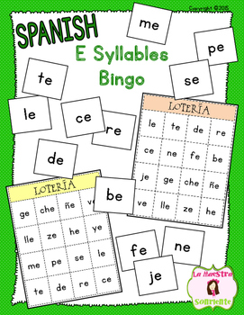Bingo Game: Reading E Syllables (Spanish)