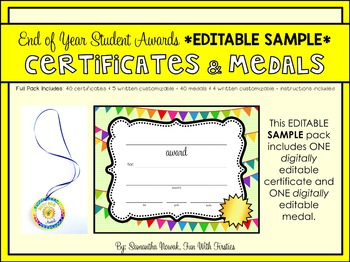 *EDITABLE SAMPLE* End of Year (or anytime!) Student Awardsby Sam Nowak