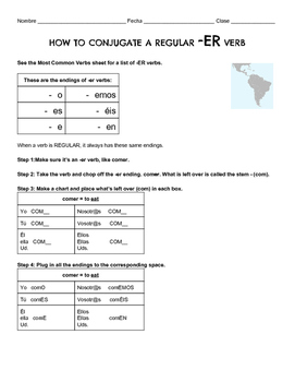 -ER Verb Conjugation Intro and Exercises