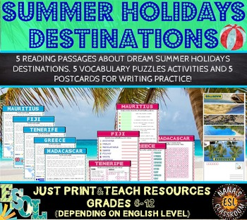 SUMMER HOLIDAYS DESTINATIONS (ESL): Reading and Writing Pr