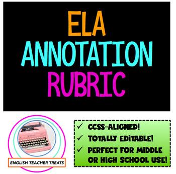 **Editable ELA ANNOTATION RUBRIC** CCSS-aligned, perfect f