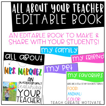 *Editable* All About Your Teacher Book