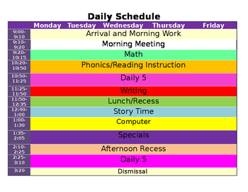*Editable* Daily Schedule