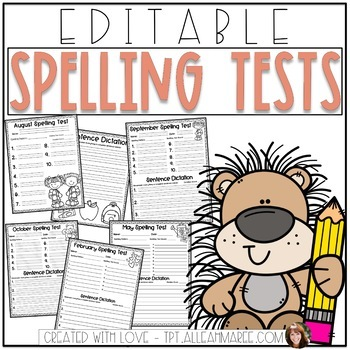 {Editable} Monthly Spelling Tests