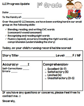{Editable} Parent Progress Update Note for LLI