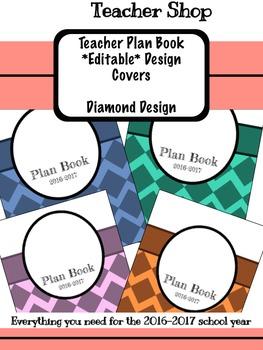 *Editable* Teacher Planner Design Cover- Diamonds