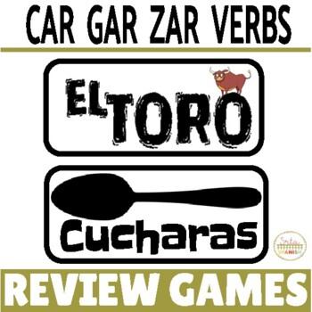 ¡El Toro! Review Game for Preterite Tense CAR/GAR/ZAR Verbs