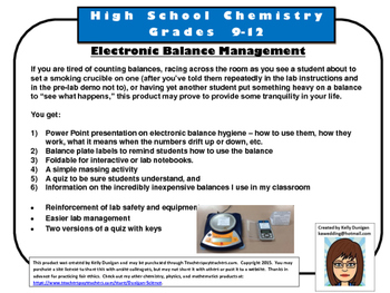 Electronic Balance Management - Massing in the Chemistry
