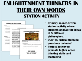 """""""Enlightenment Thinkers in Their Own Words"""" Station Activity"""