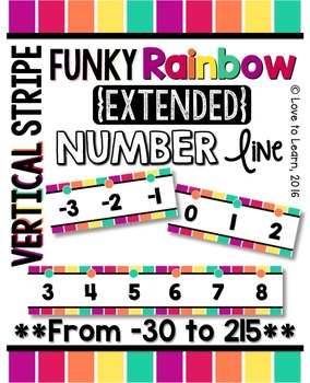 {Extended} Number Line (-30 - 215) - Funky Rainbow Vertica