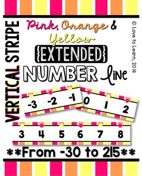 {Extended} Number Line (-30 - 215) - Pink, Orange & Yellow