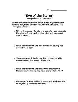 """""""Eye of the Storm"""" Comprehension Questions (Scott Foresman"""