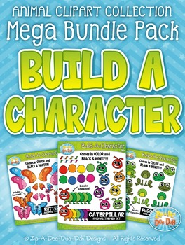 Animal Build-A-Character Clipart Mega Bundle — Over 200 Graphics!