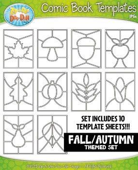 Fall Themed Comic Book Strip Templates Set — Includes 10 Sheets!