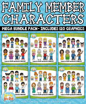 Family Members Characters Mega Bundle — Includes 120 Graphics!