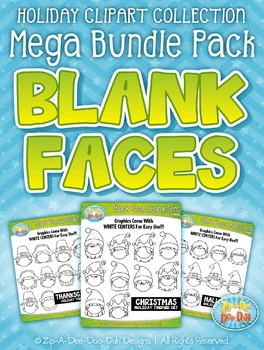 Holiday Blank Face Characters Clipart Mega Bundle Set — In