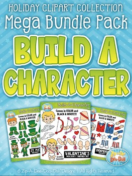 Holiday Build-A-Character Clipart Mega Bundle — Over 200 G