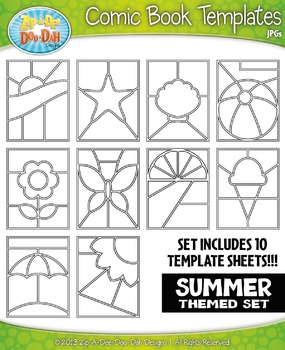 Summer Themed Comic Book Strip Templates Set — Includes 10