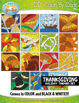 THANKSGIVING Create Your Own Color By Code Clipart Set