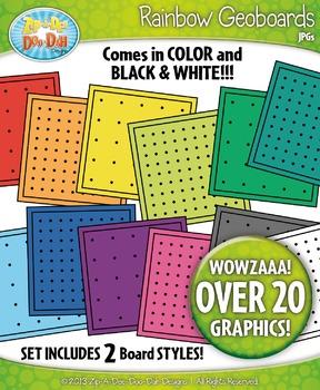 Rainbow Geoboards Clip Art — Includes 24 Graphics!