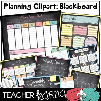 Planner & Calendar Chalkboard Clipart + Build Your Own Chart