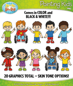 Pointing Kid Characters Clipart — Includes 20 Graphics!