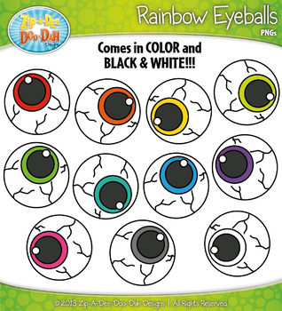 {FLASH FREEBIE} Rainbow Eyeballs Clipart Set — Over 10 Graphics!