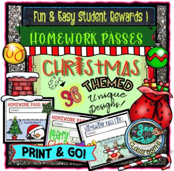 HOMEWORK PASSES ~ CHRISTMAS THEMED