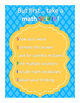 *FREE* Math SELFIE Anchor Sheet
