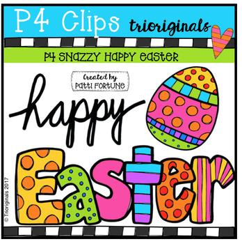 (FREE) P4 SNAZZY Happy Easter (P4 Clips Trioriginals Clip Art)