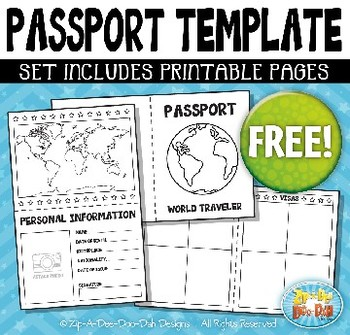 photograph regarding Printable Passport Template named No cost Pport Booklet Template Package Zip-A-Dee-Doo-Dah Programs