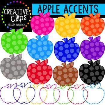 Rainbow Apple Accents {Creative Clips Digital Clipart}
