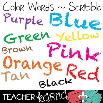 {FREE Today} Color Words: Scribble Clipart  ~ Commercial Use OK