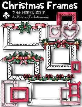 Christmas Frames Clipart ~ Commercial Use OK ~ Bows