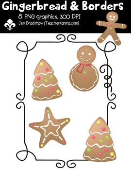 {FREE} Gingerbread & Borders Clipart ~ Commercial Use OK ~