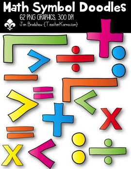 Math Symbol Doodles BUNDLE Clipart ~ Commercial Use OK