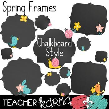 Spring Frames * Chalkboard Style * Clipart