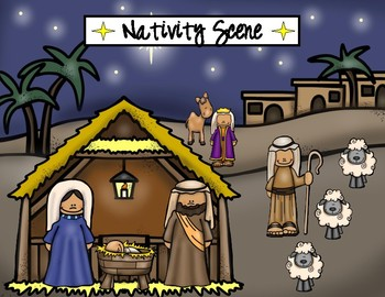 NATIVITY SCENE CUT AND PASTE /  FREE