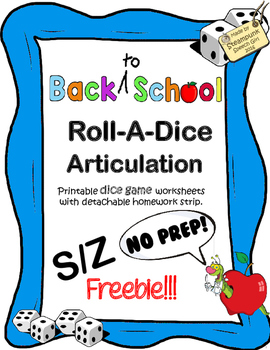 (FREEBIE!) Roll-A-Dice Articulation: FALL/AUTUMN VOCAB:  s/z